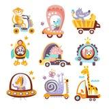 Animals And Transportation Fantasy Drawings Set Royalty Free Stock Image