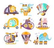 Animals And Transportation Fantasy Illustration Set Stock Image