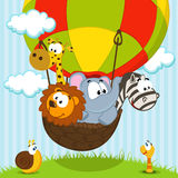 Animals traveling by balloon Royalty Free Stock Photos