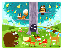 Animals and tree. Vector and cartoon illustration Stock Photo