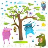 Animals tree sky sun and birds clip art collection. Royalty Free Stock Photos