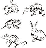 Animals in tribal style Royalty Free Stock Images