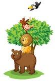 Animals under tree royalty free illustration