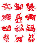 Animals of Chinese Calendar. Animals are used in the Chinese lunar calendar as symbols of the counting system Stock Photos