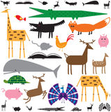 Animals. Variety of stylized animals in color and black and white Royalty Free Stock Photography