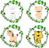 Animals in the Vector: Hare, bear, horse, tiger. Four bright stylized animals in a round floral frame, vector Stock Images