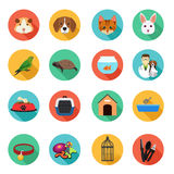 Animals and Veterinarian Flat Icons Royalty Free Stock Images