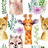 Animals watercolor illustration royalty free stock images