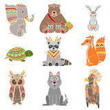Animals Wearing Tribal Clothing Set. Of Colorful Flat  Icons In Cool Detailed Artistic Design Isolated On White Background Stock Image
