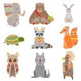 Animals Wearing Tribal Clothing Set Stock Image