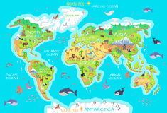 Animals and Where They Live. Our Planet. Earth. World geographical map with flora and fauna. Animals of land, oceans. North and South America, Europe, Asia vector illustration