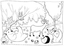 Animals in the wood, black and white. royalty free illustration