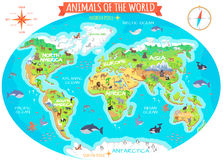 Animals of The World Flat Design Vector Concept. Animals of the world vector. Flat style. World globe with map of continents and different animals in their vector illustration