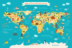 Animal map for kid world vector poster for children cute animals world map royalty free stock images gumiabroncs Images