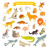 Animals world map, Australia. Vector illustration Stock Photography