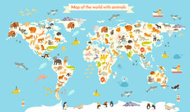 Animals world map. Colorful cartoon vector illustration for children and kids Royalty Free Stock Images