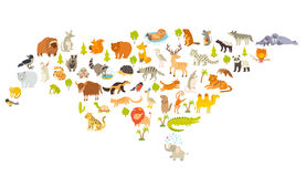 Animals world map, Eurasia. Colorful cartoon vector illustration for children and kids. Preschool, education, baby, continents, oceans, drawn, Earth Royalty Free Stock Photography