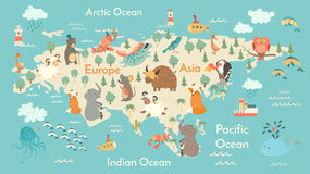 Animals world map, Eurasia Royalty Free Stock Image