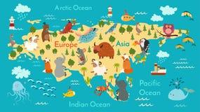 Animals world map, Eurasia stock illustration
