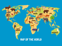 Animals World Map. Flat map of world with animals living in different parts of continents vector illustration Stock Images