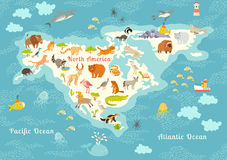 Animals world map, North America. Colorful cartoon vector illustration for children and kids. Stock Images