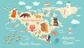 Animals world map, North America. Vector illustration Stock Photos