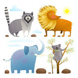 Animals zoo clip art collection lion elephant raccoon koala design set Stock Photo