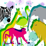 Animals zoo. Fantasy background with  colored animals Stock Photo