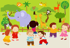 Animals in the zoo royalty free illustration