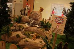 Animals, the zoo with stuffed animals on tour in Italy. It is a `park` that houses 144 life-sized soft toys that accurately reproduce the species belonging to Stock Images