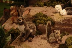 Animals, the zoo with stuffed animals on tour in Italy. It is a `park` that houses 144 life-sized soft toys that accurately reproduce the species belonging to stock photo
