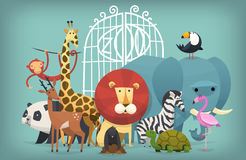 Animals in Zoo. Vector illustration card with zoo animals standing near gates inviting to visit a Zoo stock illustration