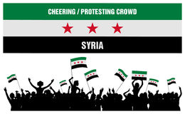 Animando o protestando a la muchedumbre Siria Foto de archivo