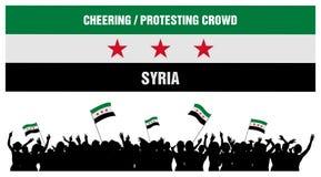 Animando o protestando a la muchedumbre Siria Fotografía de archivo