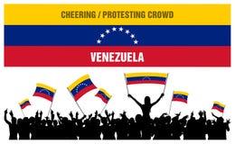 Animando o protestando a la muchedumbre Venezuela Fotografía de archivo