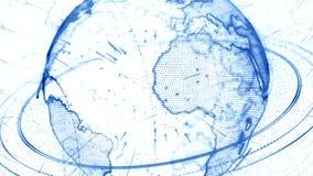 animação 3d de uma rede crescente através do mundo - versão azul filme