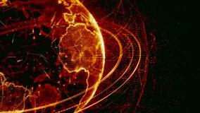 animação 3d de uma rede crescente através do mundo - versão vermelha vídeos de arquivo