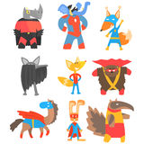 Animas Disguised As Superheroes Set Of Geometric Style Stickers stock illustration