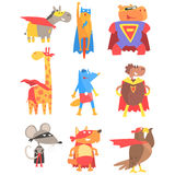 Animas Dressed As Superheroes Set Of Geometric Style Stickers Royalty Free Stock Image