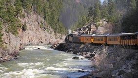 Animas River in Colorado alongside railway Stock Photo