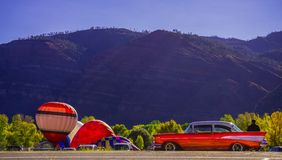 Animas Valley Balloon Rally with a 1957 Chevy stock image