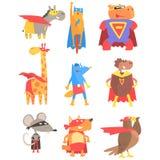 Animas vestidos como os super-herói ajustados de etiquetas geométricas do estilo ilustração royalty free