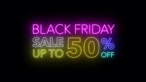 Animate flashing of black Friday sale up to percent off colorful neon blaze sign motion banner