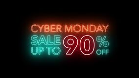 Animate flashing of cyber Monday sale up to percent off colorful neon blaze sign motion banner