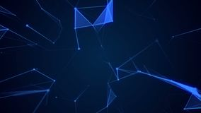 Animated abstract blue geometrical background with moving lines, triangels and dots. stock video