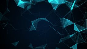 Animated abstract blue geometrical background with moving lines, triangels and dots. stock video footage