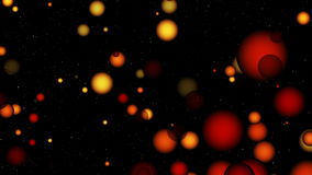 Animated abstract computer background with balls. Animated abstract computer background with yellow and pink balls with variable sizes on a black background stock footage