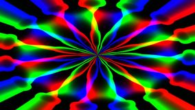 Animated abstract illustration of bright colorful spirals rotating on black background. Colorful animation stock footage