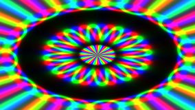 Animated abstract illustration of bright colorful spirals rotating on black background. Colorful animation stock video footage