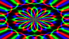 Animated abstract illustration of bright colorful spirals rotating on black background. Colorful animation stock video